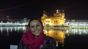 Me with headscarf at golden temple